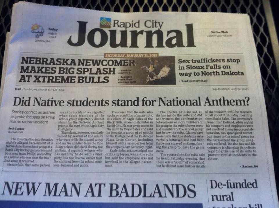 Native Sun News: Rapid City paper admits error with headline
