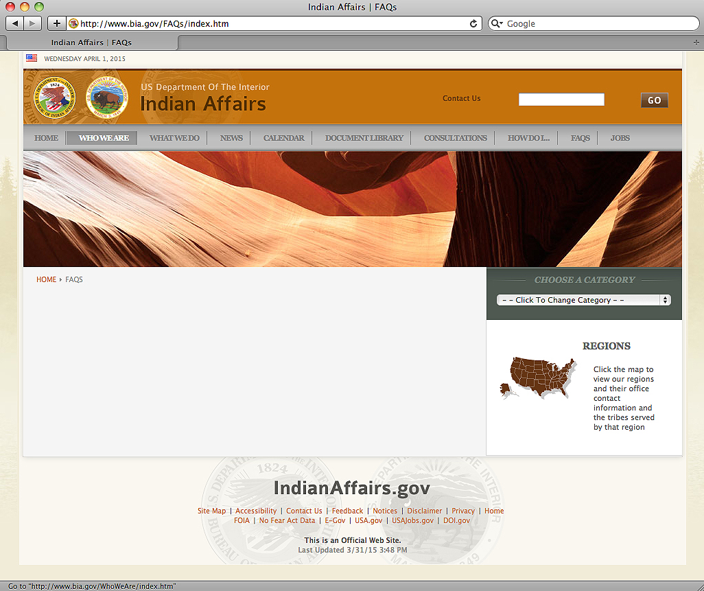 Information on Bureau of Indian Affairs website missing in action
