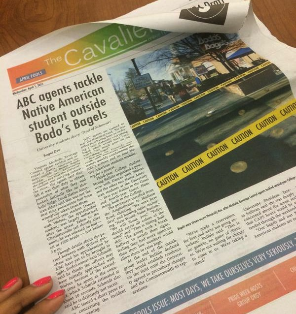 Student newspaper apologizes for 'Trail of Schmears' fake story