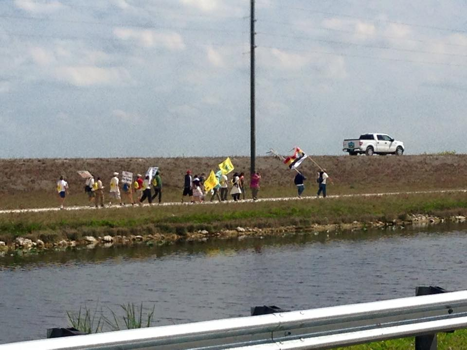 Tribal members lead march against bike trail through Everglades