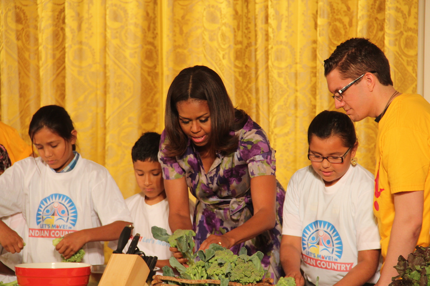 Students from Oglala Sioux Tribe get close with First Lady Obama