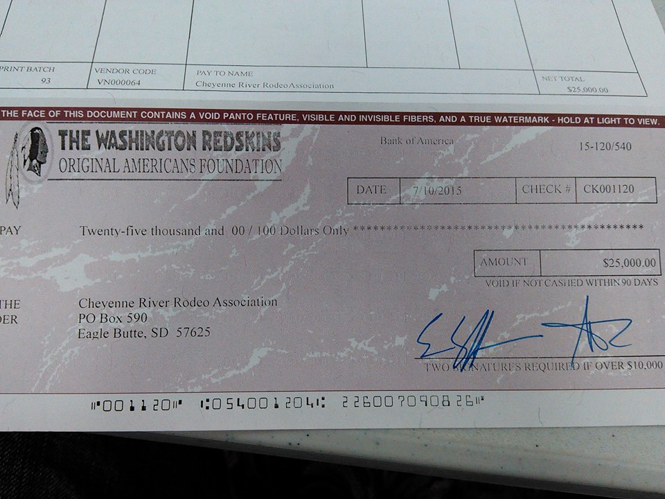 Cheyenne River Sioux Tribe rejects $25K check from NFL team