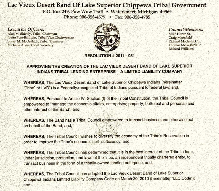 Lac Vieux Desert Band won decision affecting car title loan firm