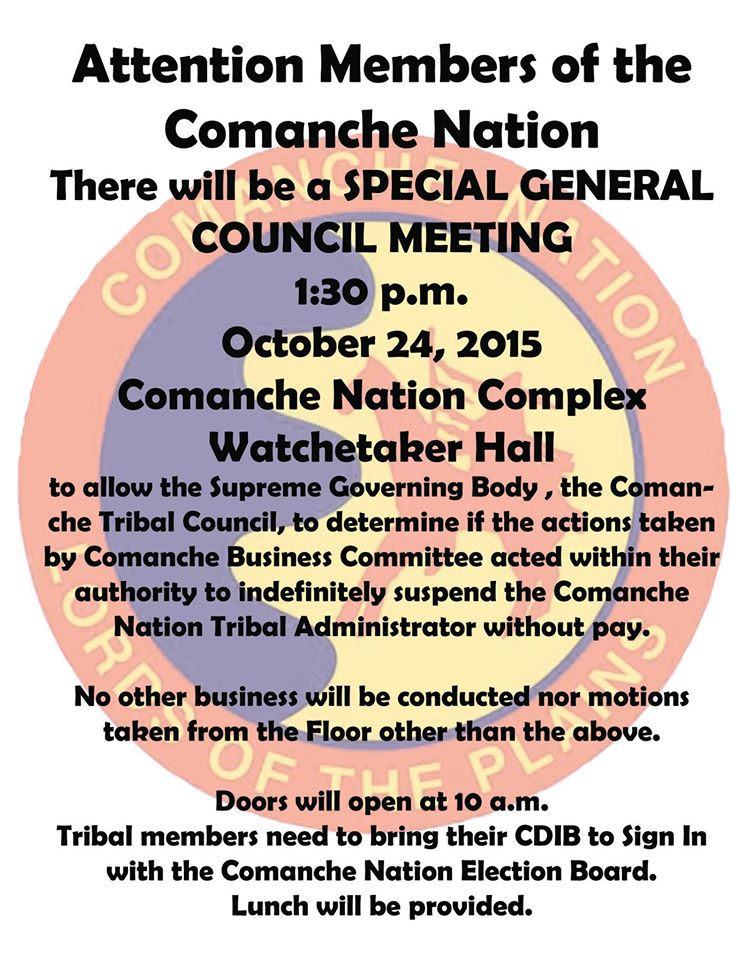 Leader of Comanche Nation disputes removal of administrator