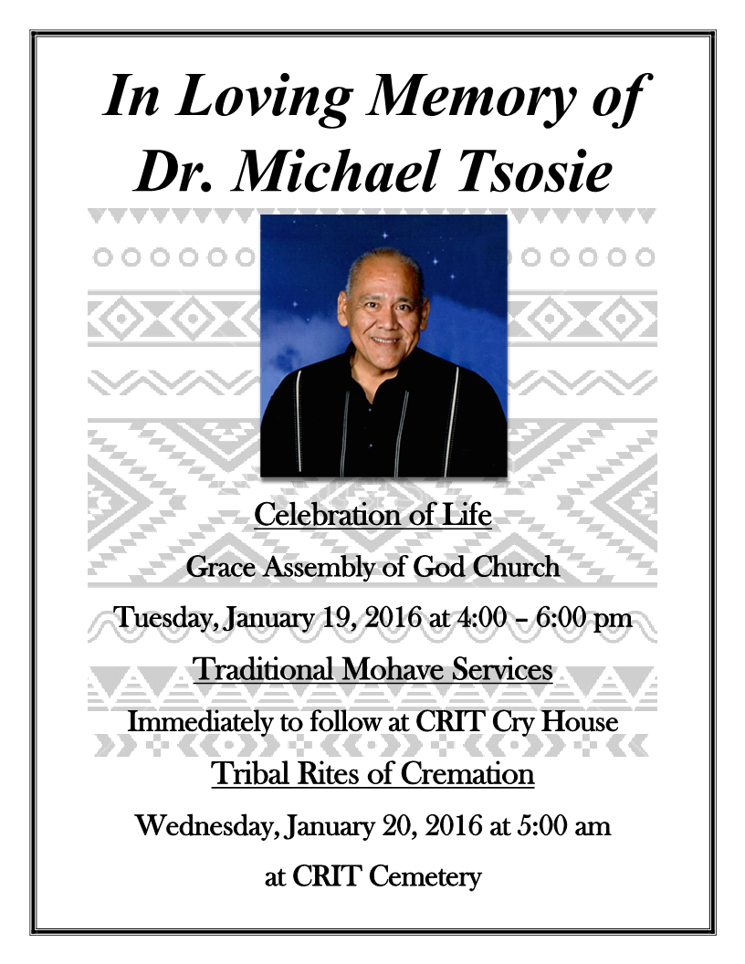 Colorado River Indian Tribes historian Michael Tsosie passes on