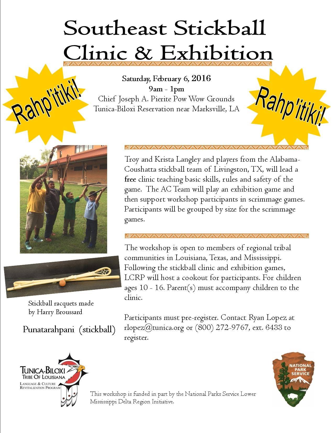 Tunica-Biloxi Tribe invites youth to stickball clinic and exhibition