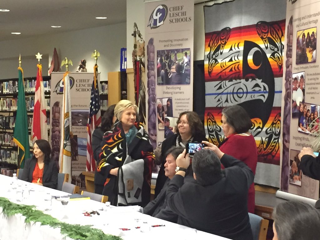Hillary Clinton meets tribes in Washington as campaign continues