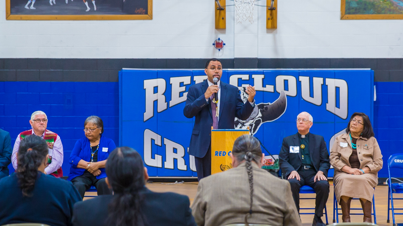 Secretary of Education John King visits Pine Ridge Reservation