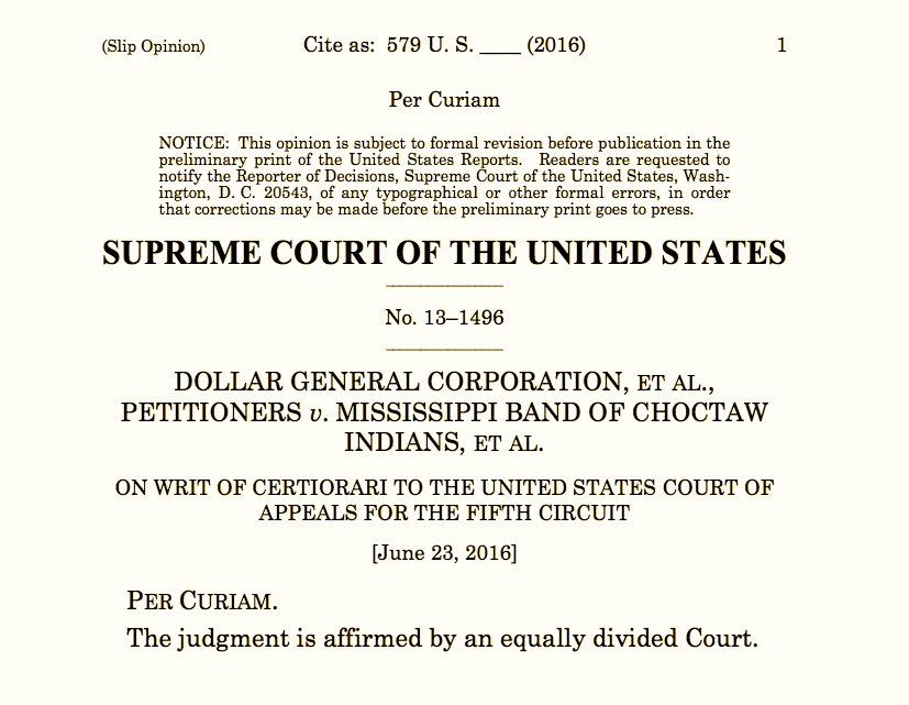 Supreme Court deadlocks in closely-watched tribal