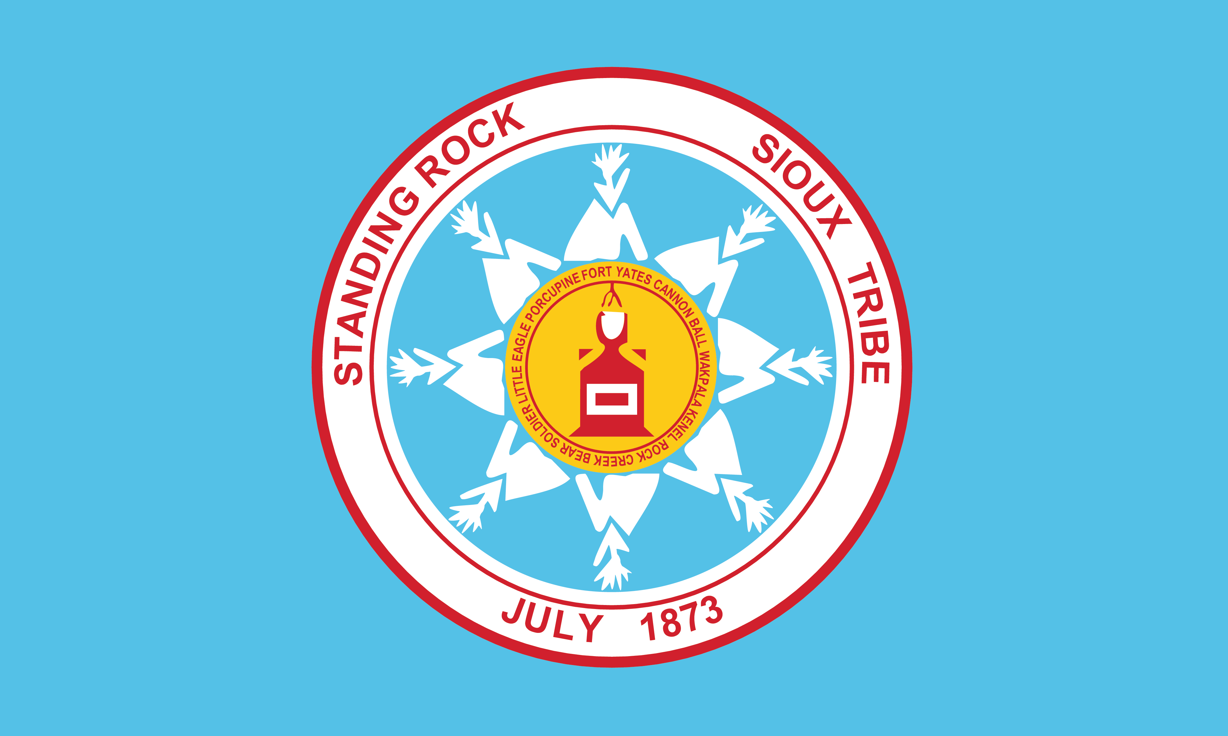 Cairns Column Examining The Flag Of The Standing Rock Sioux Tribe
