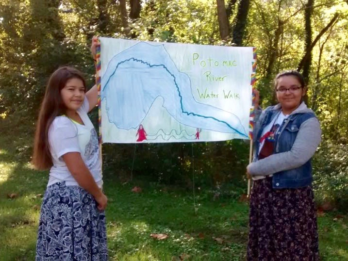 Native women and youth on 400-mile Potomac River Water Walk