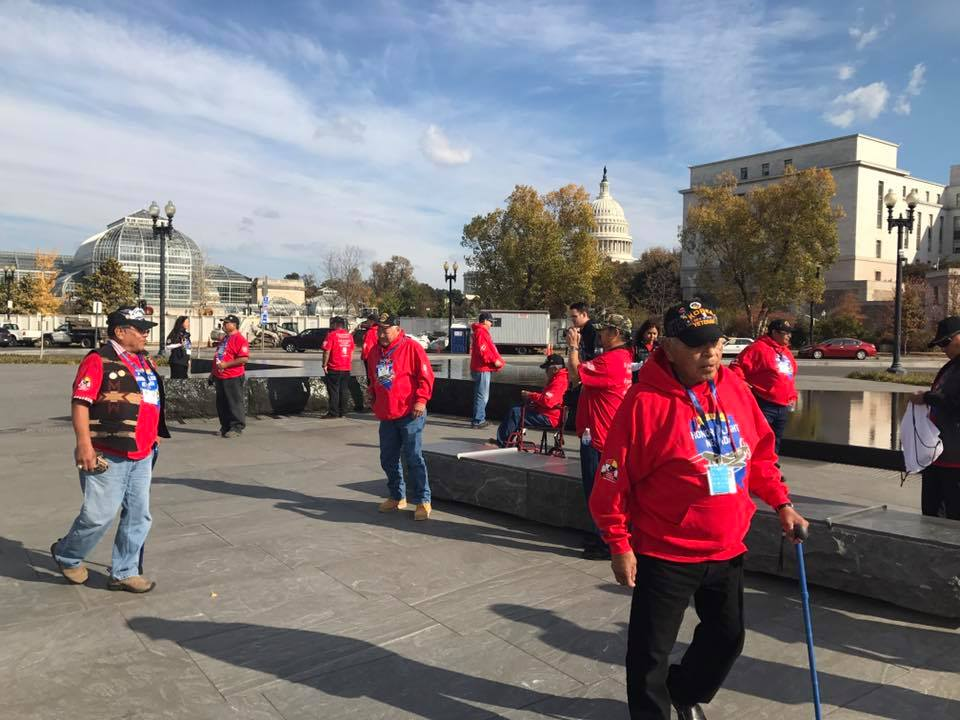 All Native veteran honor flight from Nevada arrives in Washington