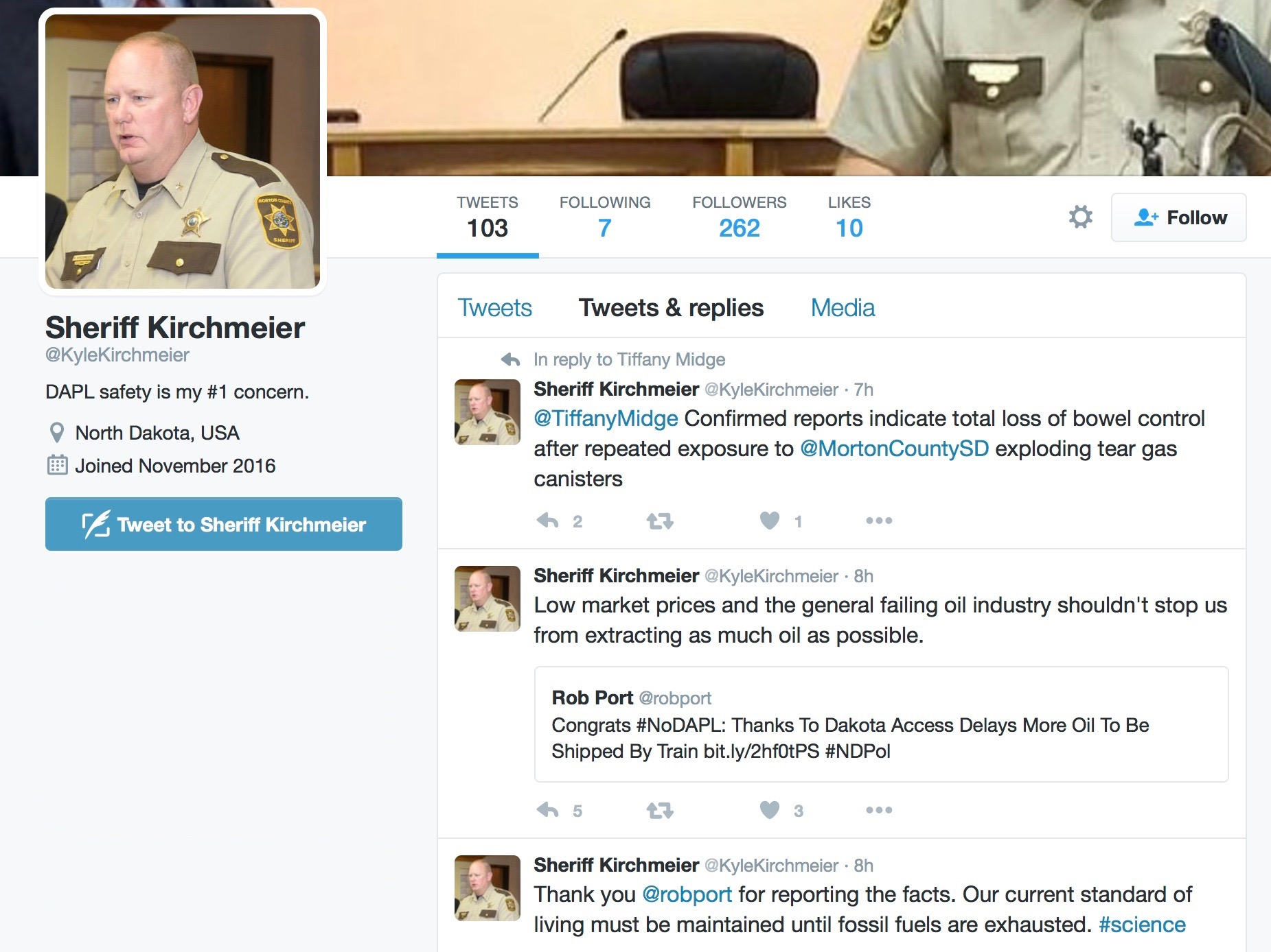 North Dakota county wants 'Sheriff Kirchmeier' account off Twitter