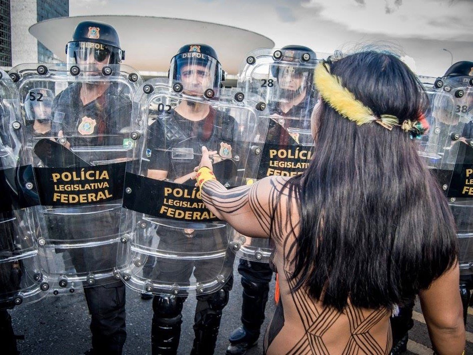 Police use tear gas and rubber bullets at indigenous protest in Brazil