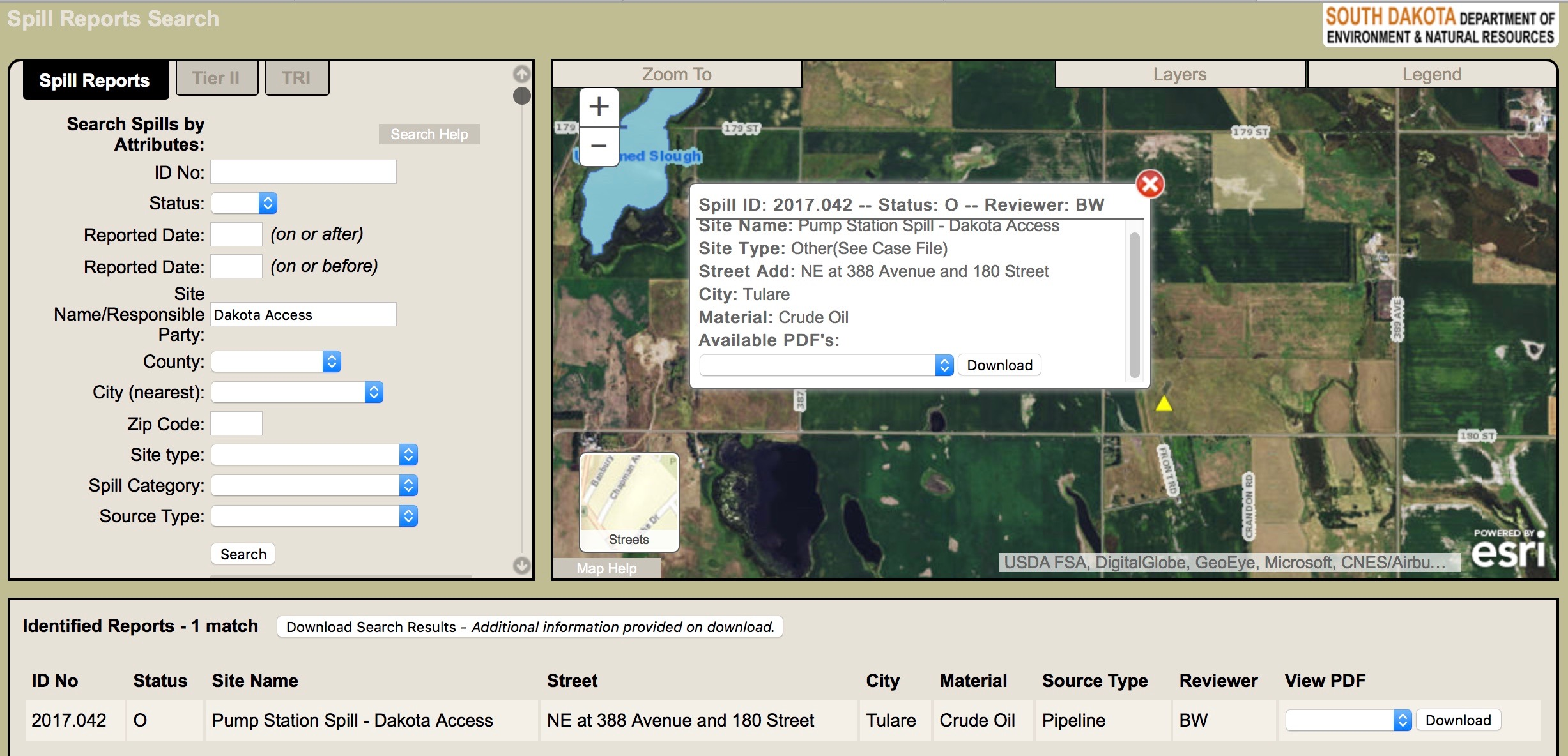 South dakota spink county doland - The Spill Database On The Website Of The South Dakota Department Of Environmental And Natural Resources Shows The Location Of The Dakota Access Pipeline