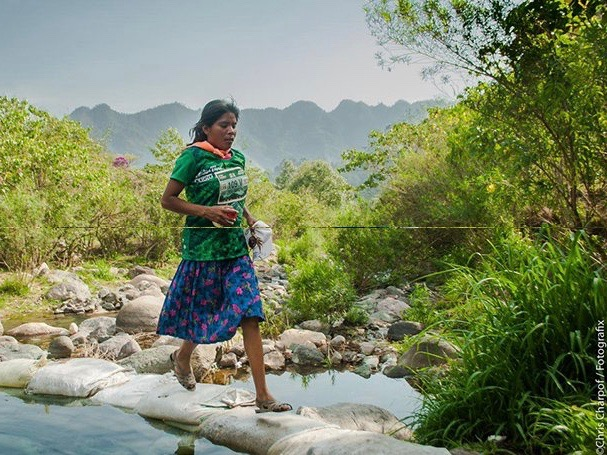 Native woman in skirt and sandals wins ultramarathon in Mexico