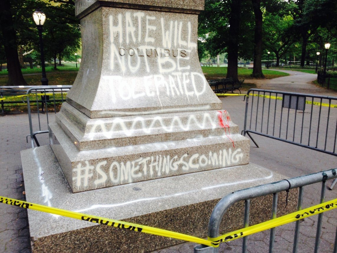 Columbus statue in New York City vandalized amid review of 'symbols of hate'