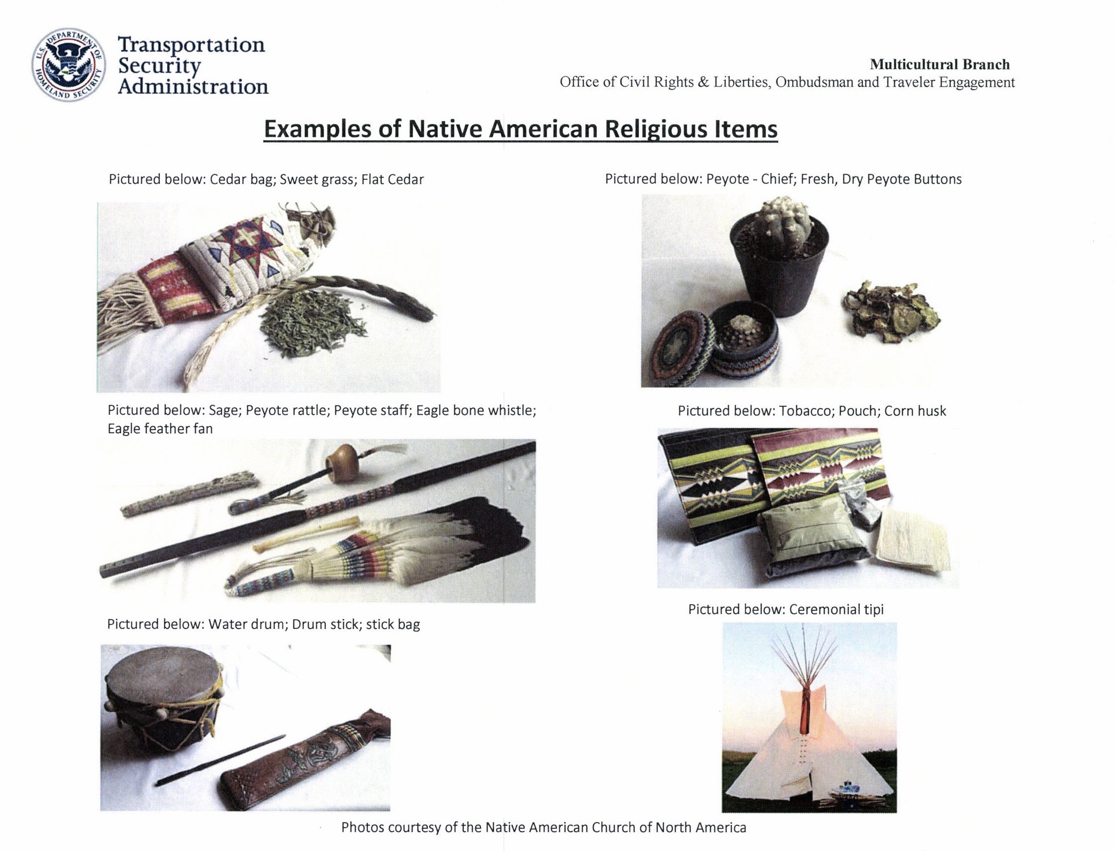 Settlement helps Native Americans who travel with sacred objects