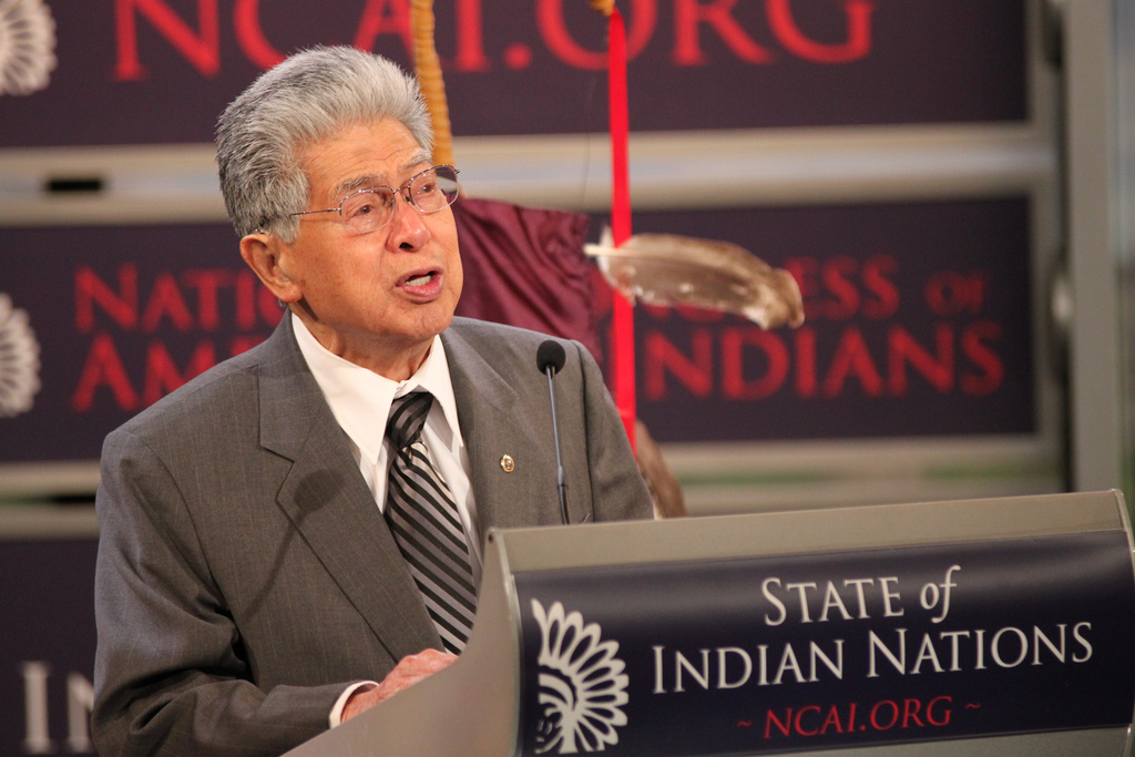 Daniel Akaka, former chairman of Senate Committee of Indian Affairs, walks on