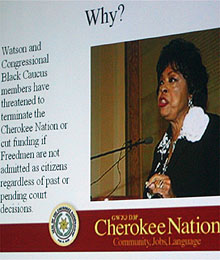 A slide from Cherokee Nation Chief Chad Smith's presentation at Federal Bar Association's 33rd annual Indian law conference in Albuquerque, New Mexico. April 11, 2008. Photo NSM.