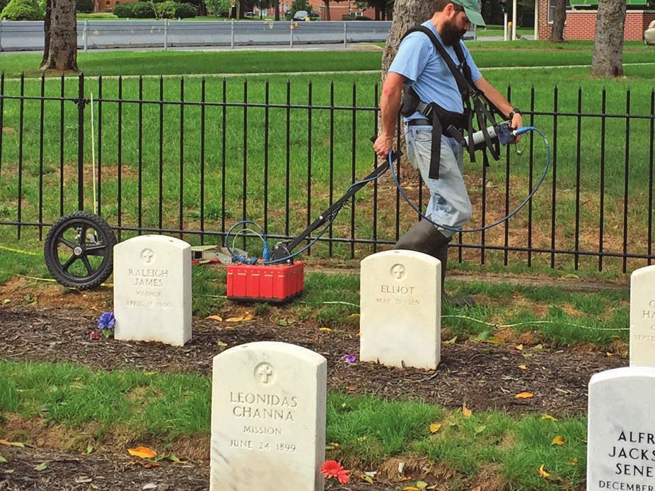 A ground radar survey of the Carlisle Barracks Post Cemetery was used to gather more information about the tribal youth who died while attending the Carlisle Indian Industrial School in Pennsylvania. Photo: Army National Military Cemeteries