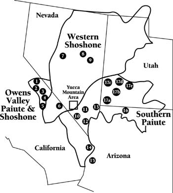 Map Tribes Located Near Yucca Mountain Site