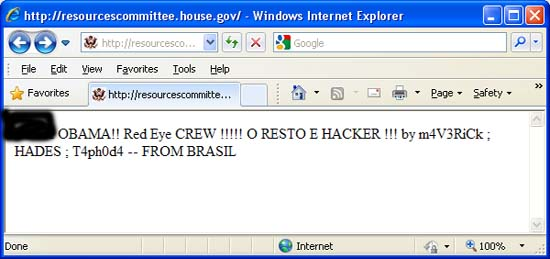 House Natural Resources Committee website hacked