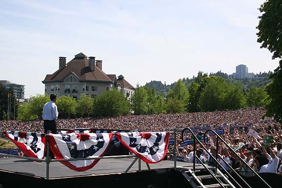 Rally for Sen. Barack Obama (D-Illinois)  in Portland, Oregon. May 18, 2008