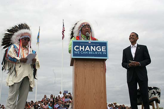 Crow Chairman Carl Venne introduces Sen. Barack Obama (D-Illinois) at a rally on the Crow Reservation in Montana. Robert Old Horn is on the left. May 19, 2008